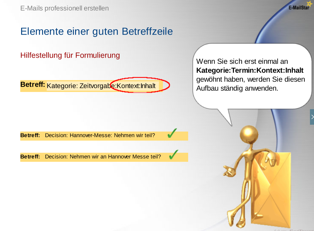 Screenshot deutsches E-Mail-Training CBT